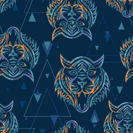 Blue tiger silhouette tattoo style vector pattern