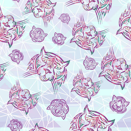 Girly tattoo style tropical tiger seamless pattern Foto de archivo