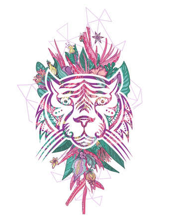 Girly tattoo style tropical tiger face portrait