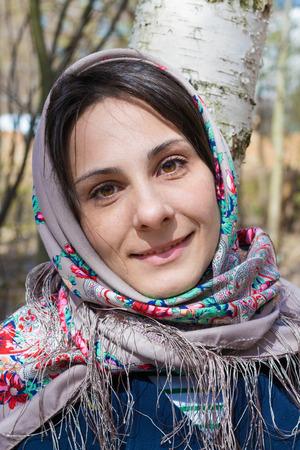 slavic: Beautiful slavic girl near the birch