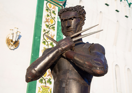 wolverine: Iron statue of the character Wolverine in Kremlin in Izmailovo, Russia Editorial