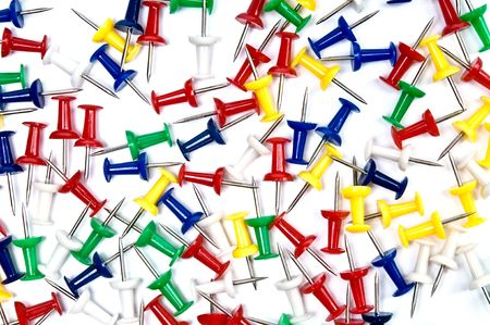 Colorful pins over the white background Stock Photo - 4383174