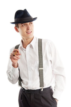 cigare: young gangster man with cigare on white background