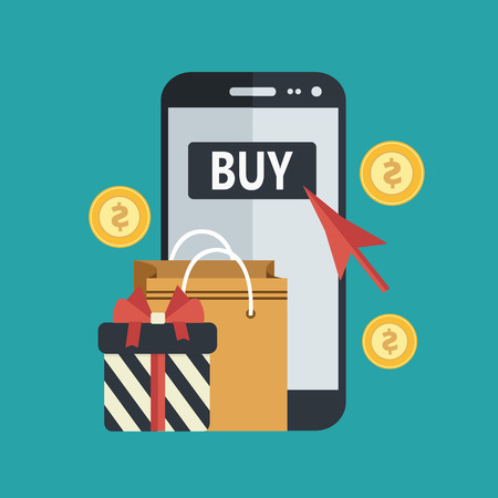 Mobile phone with shopping bag with present and red arrow surrounded with money coins. Buy on line flat vector concept.