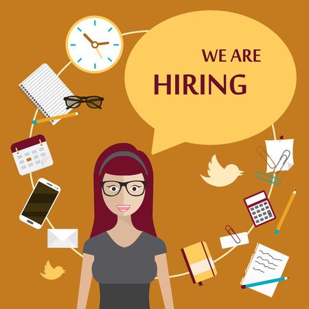 job opportunity: We are hiring poster. Flat vector design. Illustration