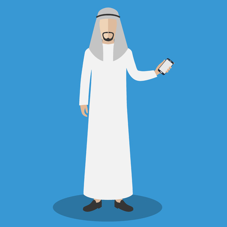 holding smart phone: Arab man holding smart phone. Flat vector illustration.