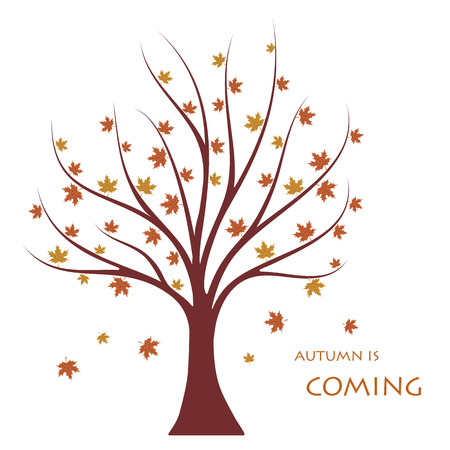 Autumn is coming flat vector concept.