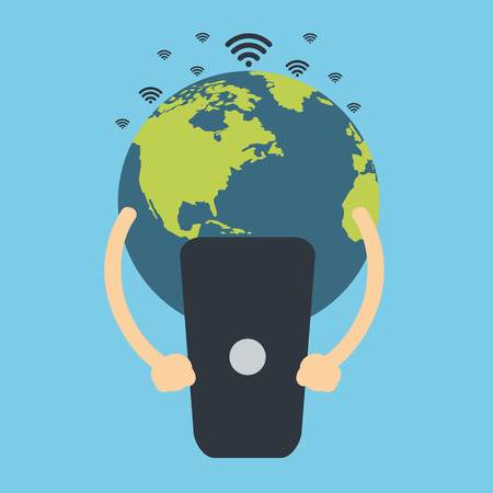 Earth globe holding cell phone. Global communication. Flat vector design.