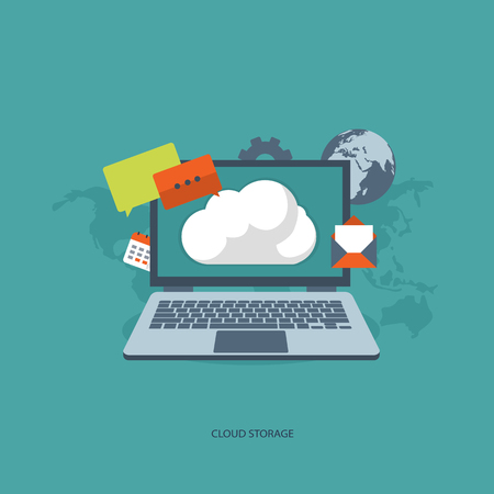 Cloud Storage Concept. Flat vector illustration