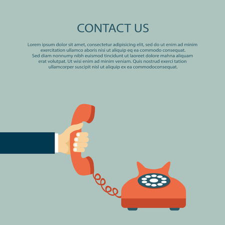 Contact us. Hand holding the headset with text. Flat vector illustration. Stock Illustratie