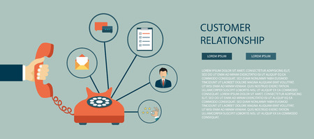 Concetto di servizio di assistenza clienti business. Set di icone di contattarci, supporto, aiuto, telefonata e clic del sito web. Illustrazione vettoriale piatto