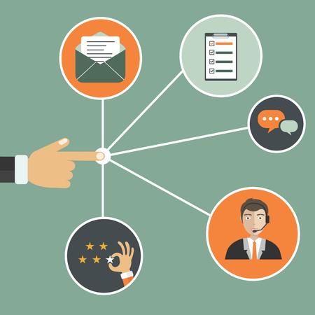 Main masculine présentant la gestion de la relation client. Système de gestion des interactions avec les clients actuels et futurs. Illustration vectorielle plate.