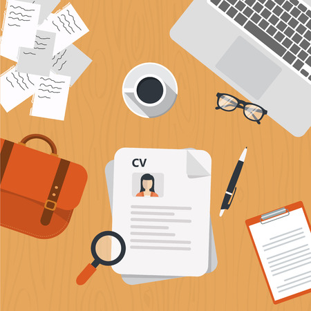 CV papers on desk with lap top, bag, papers. coffee, glasses, pen, document and magnifying glass. Flat vector design.