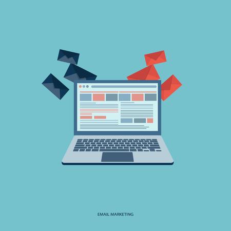 mail marketing: E mail marketing concept. Flat banner. Vector illustration.