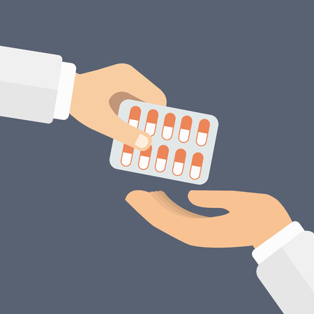 Hand giving medicine pills in a blister pack to another hand. Pharmaceutical Industry concept. Flat vector illustration.