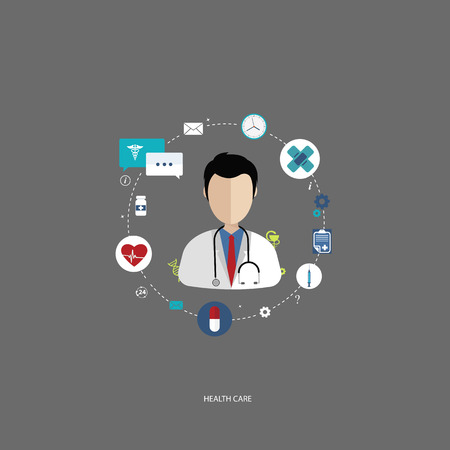 health care facilities: Vector illustration in a modern flat style, health care concept. A doctor in uniform with stethoscope and first aid kid. On line consultation. Flat vector illustration.