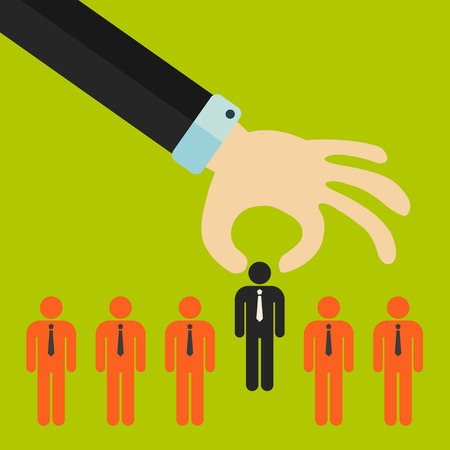 Choosing the best candidate for the job concept. Hand picking up a businessman stick figure from the row. Flat design Illustration