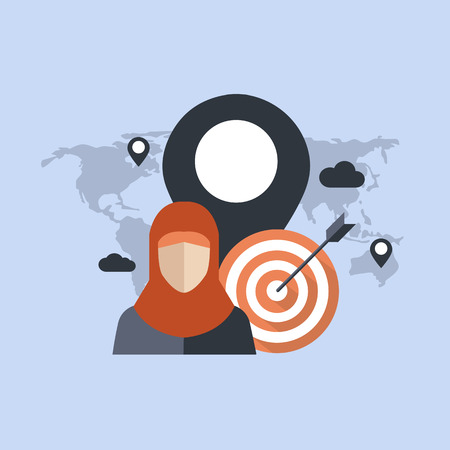 Geo Targeting. Concept of location targeting strategy used by local advertisers in digital marketing. Flat vector illustration. Illustration