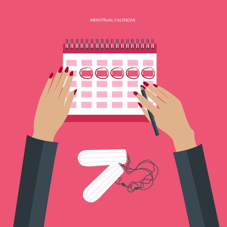 woman hygiene protection: Menstruation calendar with cotton tampons. Woman hygiene protection. Woman critical days. Flat vector illustration.