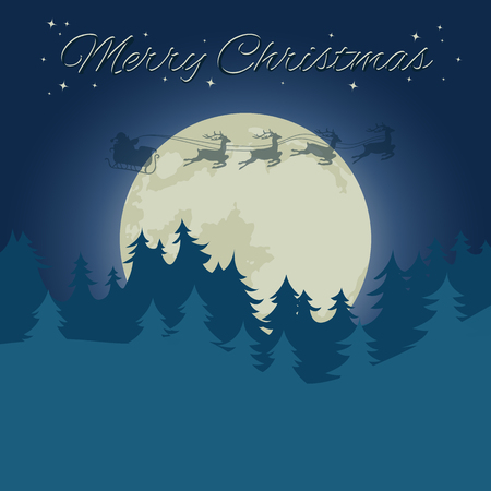 with Santa?s sleigh, Christmas tree and stars. Flat vector illustration.