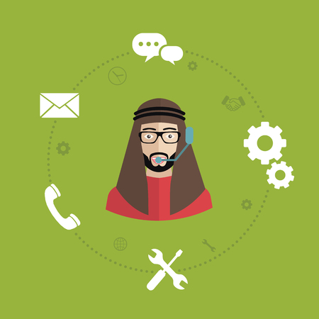 Business customer care service. Flat icons set of contact us, support, help, desk phone call and website click for web elements design. Vector illustration. Illustration