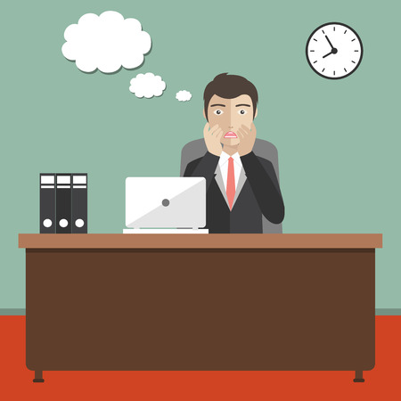 Businessman concerned in office. Speech bubble for text. Flat vector illustration. Çizim