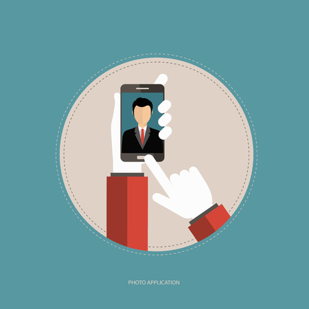 Photo application concept. Hands holding the smart phone and taking picture. Selfie concept. Flat vector illustration. Çizim