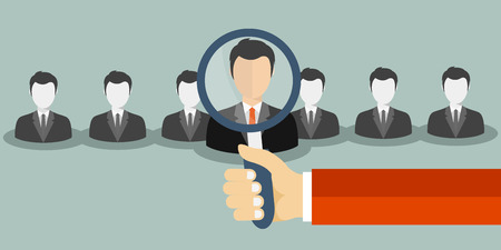 job opportunity: Find person for job opportunity. Flat vector illustration.