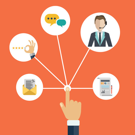 Male hand presenting customer relationship management. System for managing interactions with current and future customers. Flat vector illustration.