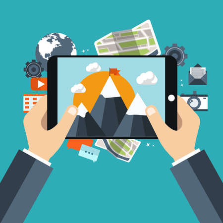 Holding tablet and taking picture. Travel and adventure concept. Picture and video concept. Flat vector illustration. Illustration