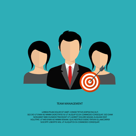 Team management flat vector illustration.