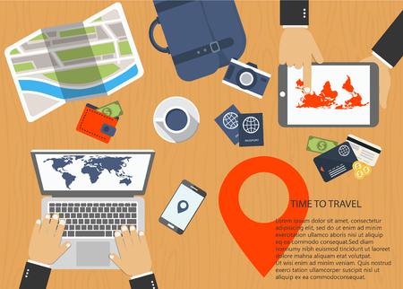 Tijd om te reizen concept. Vlakke banner van reisplanning. Bureau met laptop, tablet, smartphone, kaart, paspoorten. Platte vectorillustratie Stock Illustratie