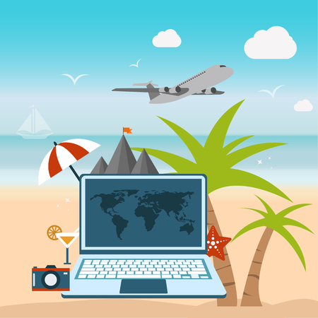 Booking on line flat illustration. Travel time concept. Flat vector illustration.