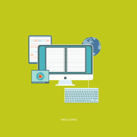 web cast: Web courses concept. On line learning, on line  Flat vector illustration.