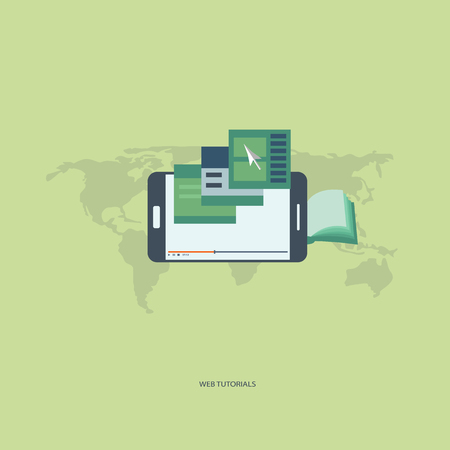 web cast: On line , distant technology concept. Web tutorials. Usable for web banner, wed sites, info graphics. Smart phone - a tool for learning. Flat vector.