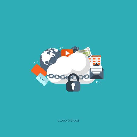 Cloud computing concept. Data storage network technology. Multimedia content, web sites hosting. Memory, information transfer. Flat vector illustration.