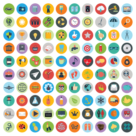 Flat icons design modern vector illustration. Big set of web and technology development icons, business management symbol, marketing items and other various objects on background. Ilustração