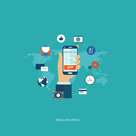 Mobile application concept. Hand holding the phone with icons around it. Flat vector illustration.