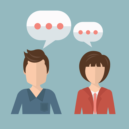 Businessman and businesswoman talking, discussing. Concept for chat, talking, support.