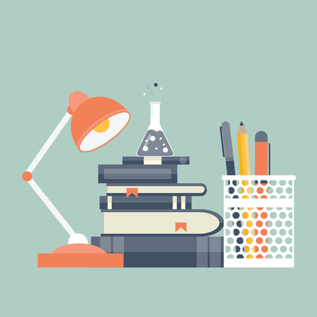 Office work. Studying equipment and work space. Flat vector illustration
