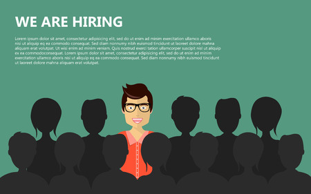 Find the right person for the job concept. Green background. Flat vector design  イラスト・ベクター素材