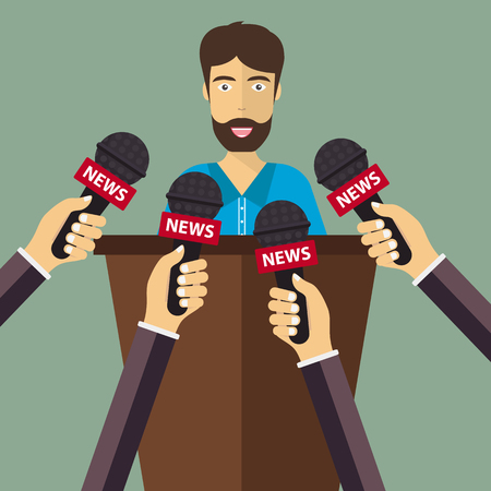 Businessman giving an interview in the presence of journalists with microphones and recorder. Journalism concept. Flat vector illustration