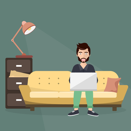 Freelance worker sitting on sofa with lap top. Workplace concept. Flat vector illustration.