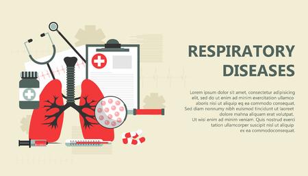 Respiratory diseases banner. Flat vector illustration