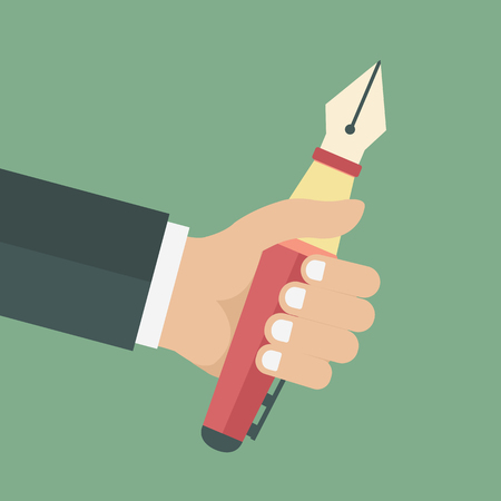 Hand with big pen. Concept for writing, drawing. Concept for education. Flat vector illustration