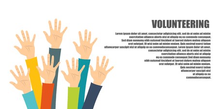 Volunteering concept. Hand raised up. Flat vector illustration Stock Illustratie