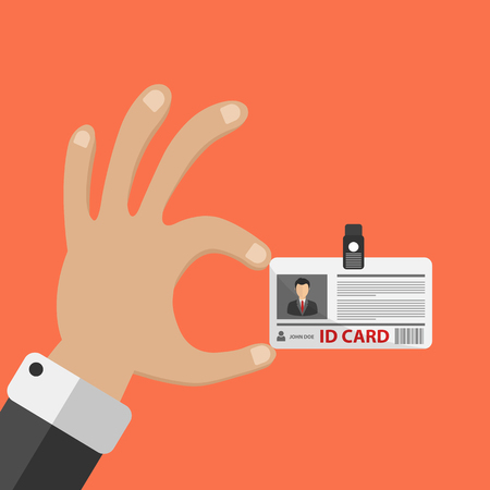 Hand holding ID card. Flat vector illustration
