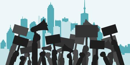 Concepto de protesta, revolución o conflicto. Silueta multitud de personas manifestantes. Ilustración vectorial plana.
