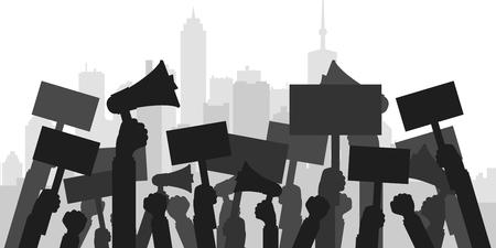 Concept de protestation, de révolution ou de conflit. Silhouette de la foule des manifestants. Illustration vectorielle plane Vecteurs