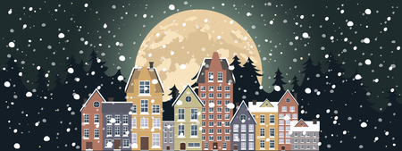 Winter landscape. New Year poster. Winter in village.